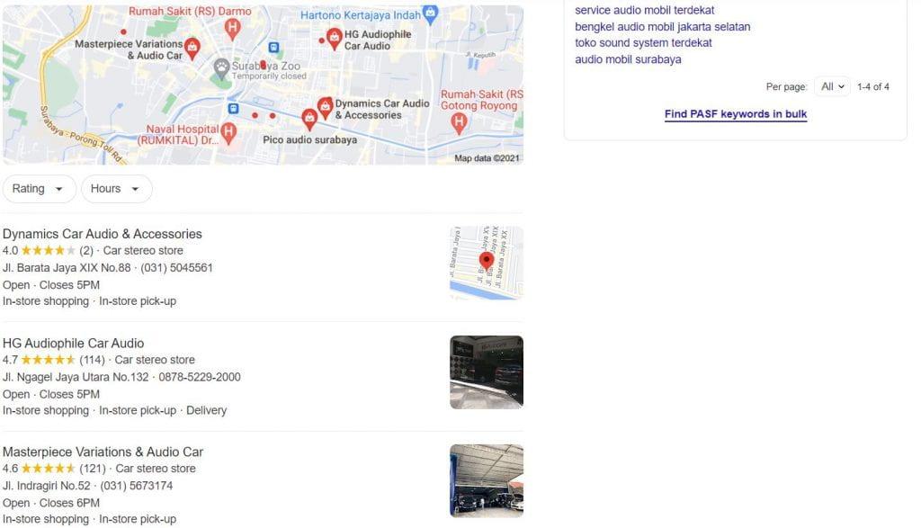 hasil pencarian bengkel audio mobil terdekat